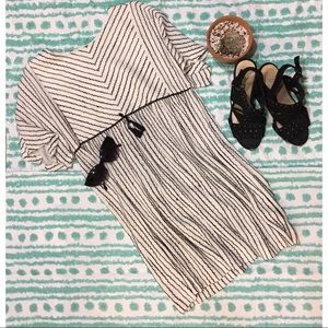 Zara Kids embroidered cream black tassel dress